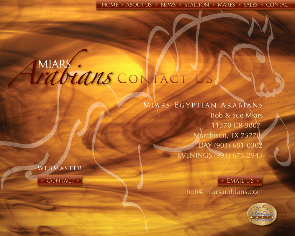 Miars Egyptian Arabians, Bob & Sue Miars, 11370 CR 3807 Murchison, TX 75778, Ranch (903) 469-3624, Fax (903) 469-3724, Mbl (903) 681-0302